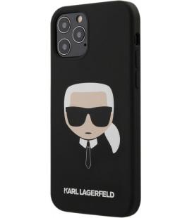 "Juodas dėklas Apple iPhone 12/12 Pro telefonui ""KLHCP12MSLKHBK Karl Lagerfeld Head Silicone Cover"""