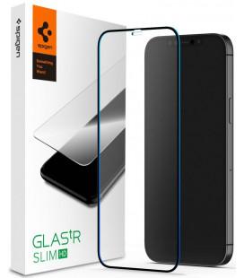 "Juodas apsauginis grūdintas stiklas Apple iPhone 12 Pro Max telefonui ""Spigen Glas.TR Slim HD"""
