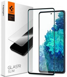"""Juodas apsauginis grūdintas stiklas Samsung Galaxy S20 FE telefonui """"Spigen Glas.TR Slim"""""""