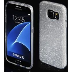 """Sidabrinės spalvos silikoninis blizgantis dėklas Samsung Galaxy S7 G930F telefonui """"Blink"""""""