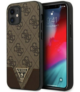 "Rudas dėklas Apple iPhone 12 Mini telefonui ""GUHCP12SPU4GHBR Guess 4G Triangle Cover"""