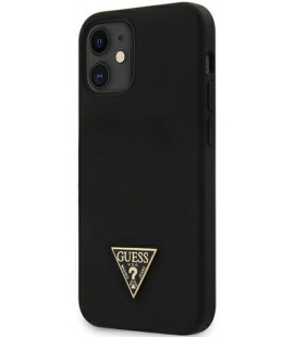 "Juodas dėklas Apple iPhone 12 Mini telefonui ""GUHCP12SLSTMBK Guess Silicone Metal Triangle Cover"""