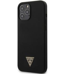 "Juodas dėklas Apple iPhone 12 Pro Max telefonui ""GUHCP12LLSTMBK Guess Silicone Metal Triangle Cover"""