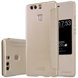 """Atverčiamas auksinės spalvos dėklas Huawei P9 Telefonui """"Nillkin Sparkle S-View"""""""