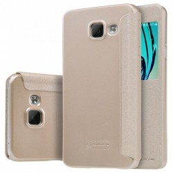 """Atverčiamas auksinės spalvos dėklas Samsung Galaxy A3 2016 Telefonui """"Nillkin Sparkle S-View"""""""