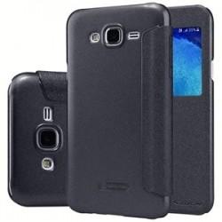 """Atverčiamas juodas dėklas Samsung Galaxy J5 Telefonui """"Nillkin Sparkle S-View"""""""