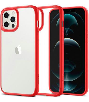 "Raudonas dėklas Apple iPhone 12/12 Pro telefonui ""Spigen Ultra Hybrid"""