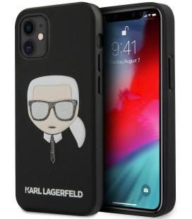 "Juodas dėklas Apple iPhone 12 Mini telefonui ""KLHCP12SGLBK Karl Lagerfeld Glitter Head Cover"""