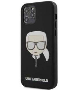 "Juodas dėklas Apple iPhone 12 Pro Max telefonui ""KLHCP12LGLBK Karl Lagerfeld Glitter Head Cover"""