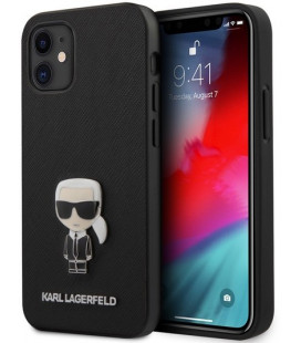 "Juodas dėklas Apple iPhone 12 Mini telefonui ""KLHCP12SIKMSBK Karl Lagerfeld Saffiano Iconic Cover"""