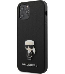 "Juodas dėklas Apple iPhone 12/12 Pro telefonui ""KLHCP12MIKMSBK Karl Lagerfeld Saffiano Iconic Cover"""