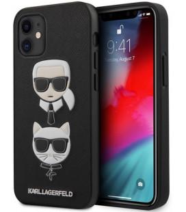 "Juodas dėklas Apple iPhone 12 Mini telefonui ""KLHCP12SSAKICKCBK Karl Lagerfeld Saffiano K&C Heads Cover"""