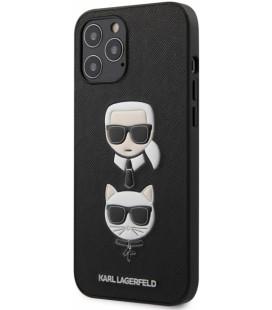 "Juodas dėklas Apple iPhone 12 Pro Max telefonui ""KLHCP12LSAKICKCBK Karl Lagerfeld Saffiano K&C Heads Cover"""