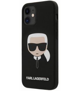 "Juodas dėklas Apple iPhone 12 Mini telefonui ""KLHCP12SSLKHBK Karl Lagerfeld Head Silicone Cover"""