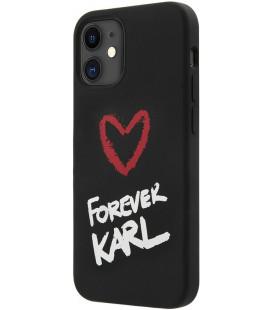 "Juodas dėklas Apple iPhone 12 Mini telefonui ""KLHCP12SSILKRBK Karl Lagerfeld Forever Silicone Cover"""