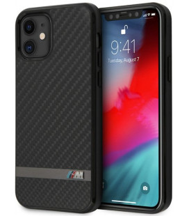 """Juodas dėklas Apple iPhone 12 Mini telefonui """"BMHCP12SASCFBK BMW Carbon & Alu Cover"""""""