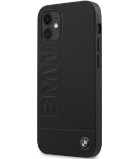 """Juodas dėklas Apple iPhone 12 Mini telefonui """"BMHCP12SSLLBK BMW Leather Hot Stamp Cover"""""""