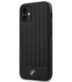 """Juodas dėklas Apple iPhone 12 Mini telefonui """"BMHCP12SPOCBK BMW Leather Hot Stamp Vertical Lines Cover"""""""