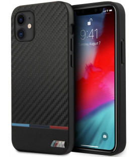 "Juodas dėklas Apple iPhone 12 Mini telefonui ""BMHCP12SPUCARTCBK BMW PU Carbon Tricolor Line Cover"""