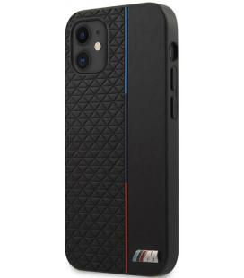 """Juodas dėklas Apple iPhone 12 Mini telefonui """"BMHCP12STRTBK BMW PU Triangles Tricolor Line Cover"""""""