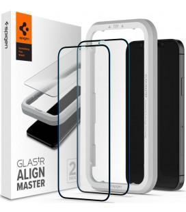 """Juodas apsauginis grūdintas stiklas Apple iPhone 12/12 Pro telefonui """"Spigen AlignMaster Glas tR"""""""