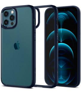 "Mėlynas dėklas Apple iPhone 12/12 Pro telefonui ""Spigen Ultra Hybrid"""