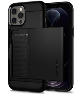 "Juodas dėklas Apple iPhone 12 Pro Max telefonui ""Spigen Slim Armor CS"""