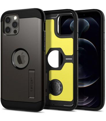 "Pilkas dėklas Apple iPhone 12/12 Pro telefonui ""Spigen Tough Armor"""