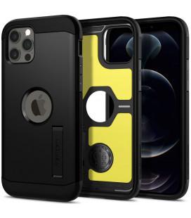 "Juodas dėklas Apple iPhone 12/12 Pro telefonui ""Spigen Tough Armor"""
