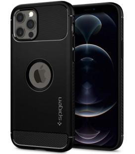"Juodas dėklas Apple iPhone 12/12 Pro telefonui ""Spigen Rugged Armor"""