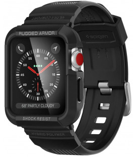 """Juodas dėklas Apple Watch 1/2/3 (42mm) laikrodžiui """"Spigen Rugged Armor PRO"""""""