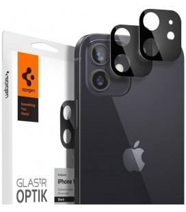 "Juodas apsauginis grūdintas stiklas Apple iPhone 12 Mini telefono kamerai apsaugoti ""Spigen Optik.TR Camera Lens"""