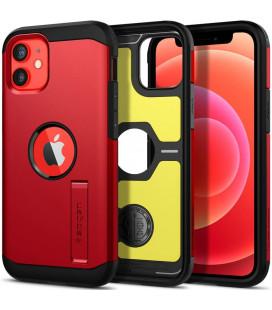 """Raudonas dėklas Apple iPhone 12 Mini telefonui """"Spigen Tough Armor"""""""