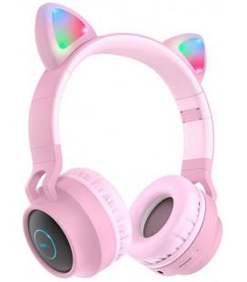 """Rožinės belaidės ausinės """"Hoco W27 Cat"""""""