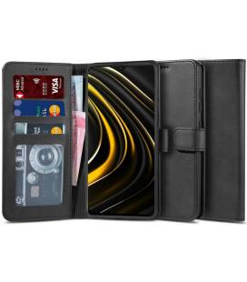 """Juodas atverčiamas dėklas Xiaomi Poco M3 telefonui """"Tech-protect Wallet 2"""""""