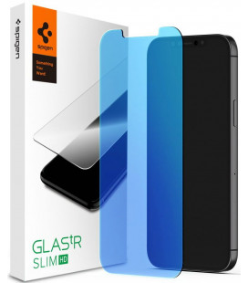 "Apsauginis grūdintas stiklas Apple iPhone 12 Pro Max telefonui ""Spigen Glas.TR Antiblue"""