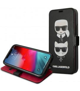 """Juodas atverčiamas dėklas Apple iPhone 12/12 Pro telefonui """"KLFLBKSP12MFKICKC Karl Lagerfeld Heads Book Case"""""""