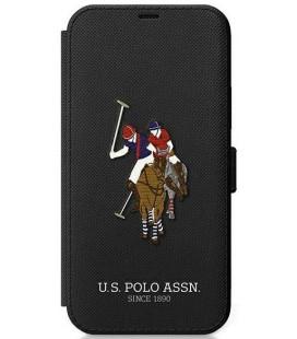 """Juodas atverčiamas dėklas Apple iPhone 12/12 Pro telefonui """"USFLBKP12MPUGFLBK U.S. Polo Embroidery Book Case"""""""