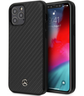 "Juodas dėklas Apple iPhone 12/12 Pro telefonui ""MEHCP12MRCABK Mercedes Dynamic Carbon Cover"""