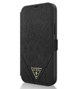 "Juodas atverčiamas dėklas Apple iPhone 12/12 Pro telefonui ""GUFLBKP12MVSATMLBK Guess Saffiano V Stitch Book Case"""