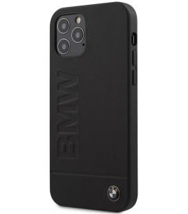 "Juodas dėklas Apple iPhone 12/12 Pro telefonui ""BMHCP12MSLLBK BMW Leather Hot Stamp Cover"""