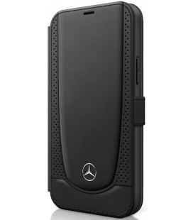 "Juodas atverčiamas dėklas Apple iPhone 12/12 Pro telefonui ""MEFLBKP12MARMBK Mercedes Perforated Leather Book Case"""