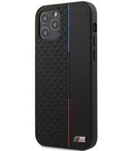 "Juodas dėklas Apple iPhone 12/12 Pro telefonui ""BMHCP12MTRTBK BMW PU Triangles Tricolor Line Cover"""