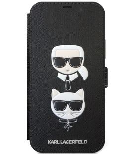 """Juodas atverčiamas dėklas Apple iPhone 12/12 Pro telefonui """"KLFLBKP12MSAKICKCBK Karl Lagerfeld Saffiano K&C Heads Book Case"""""""
