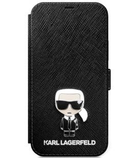 """Juodas atverčiamas dėklas Apple iPhone 12/12 Pro telefonui """"KLFLBKP12MIKMSBK Karl Lagerfeld Saffiano Iconic Book Case"""""""