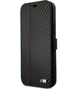"""Juodas atverčiamas dėklas Apple iPhone 12/12 Pro telefonui """"BMFLBKP12MMCARBK BMW PU Carbon Contrast Book Case"""""""