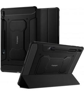 """Juodas atverčiamas dėklas Samsung Galaxy S7 Plus 12.4 T970/T976 planšetei """"Spigen Rugged Armor PRO"""""""