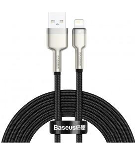 "Juodas USB - Lightning laidas 200cm 2.4A ""Baseus Cafule Metal"""