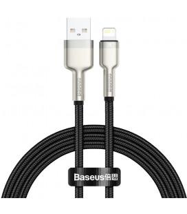 "Juodas USB - Lightning laidas 100cm 2.4A ""Baseus Cafule Metal"""