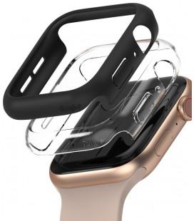 """Juodas ir skaidrus dėklai Apple Watch 4/5/6/SE (44mm) laikrodžiui """"Ringke Slim 2-Pack"""""""